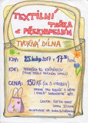 TVOŘIVÁ DÍLNA – Textilní taštička s překvapením @ Hernička RC Kašpárkov | Rosice | Česko